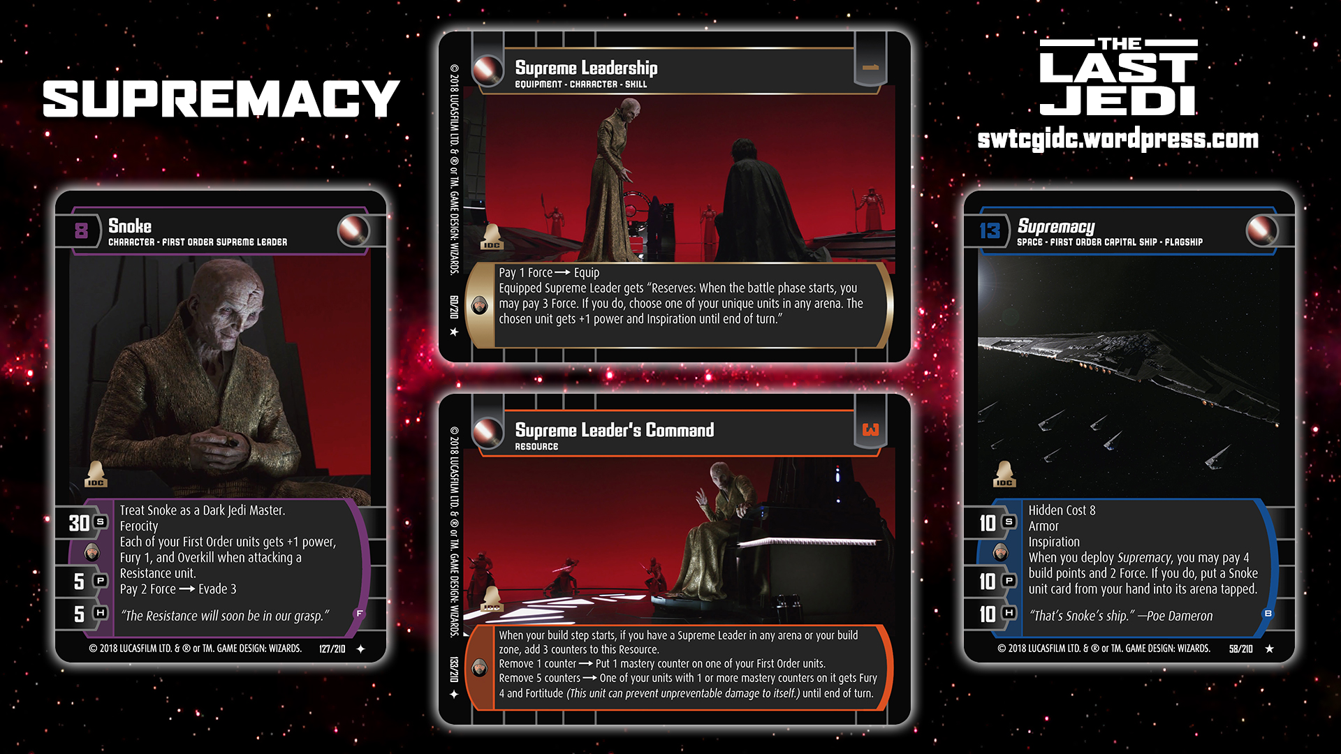 Star Wars Trading Card Game Tlj Wallpaper 5 Supremacy Star Wars Trading Card Game Independent Development Committee