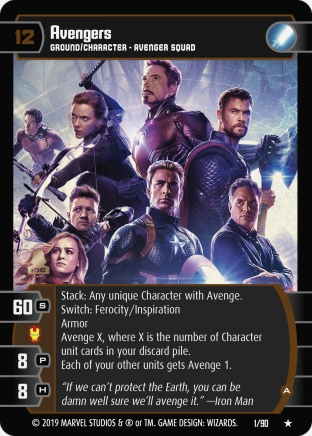 Marvel Cinematic Universe Trading Card Game MCU001_Avengers_A