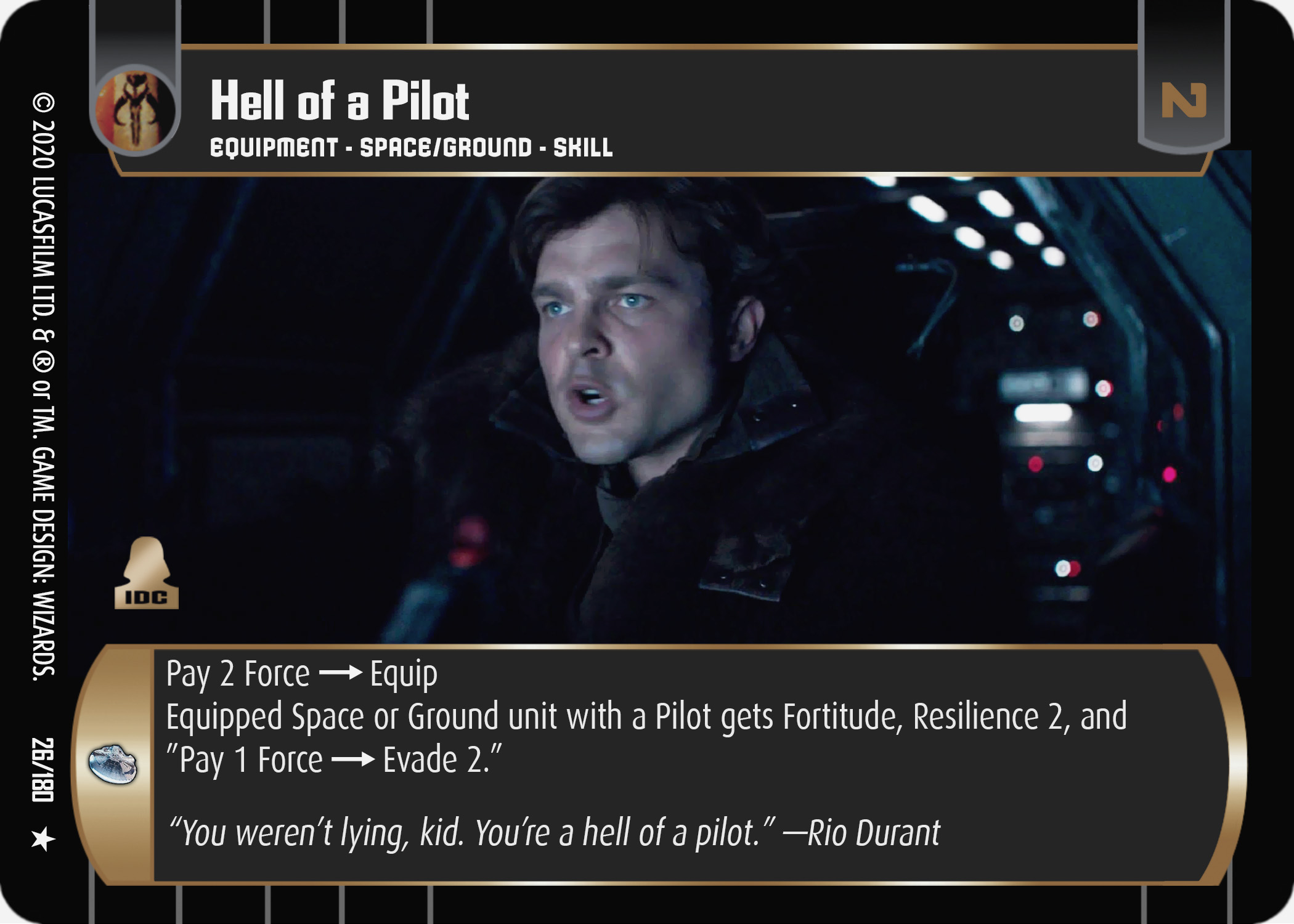 Star Wars Tradng Card Game SOLO026_Hell_of_a_Pilot