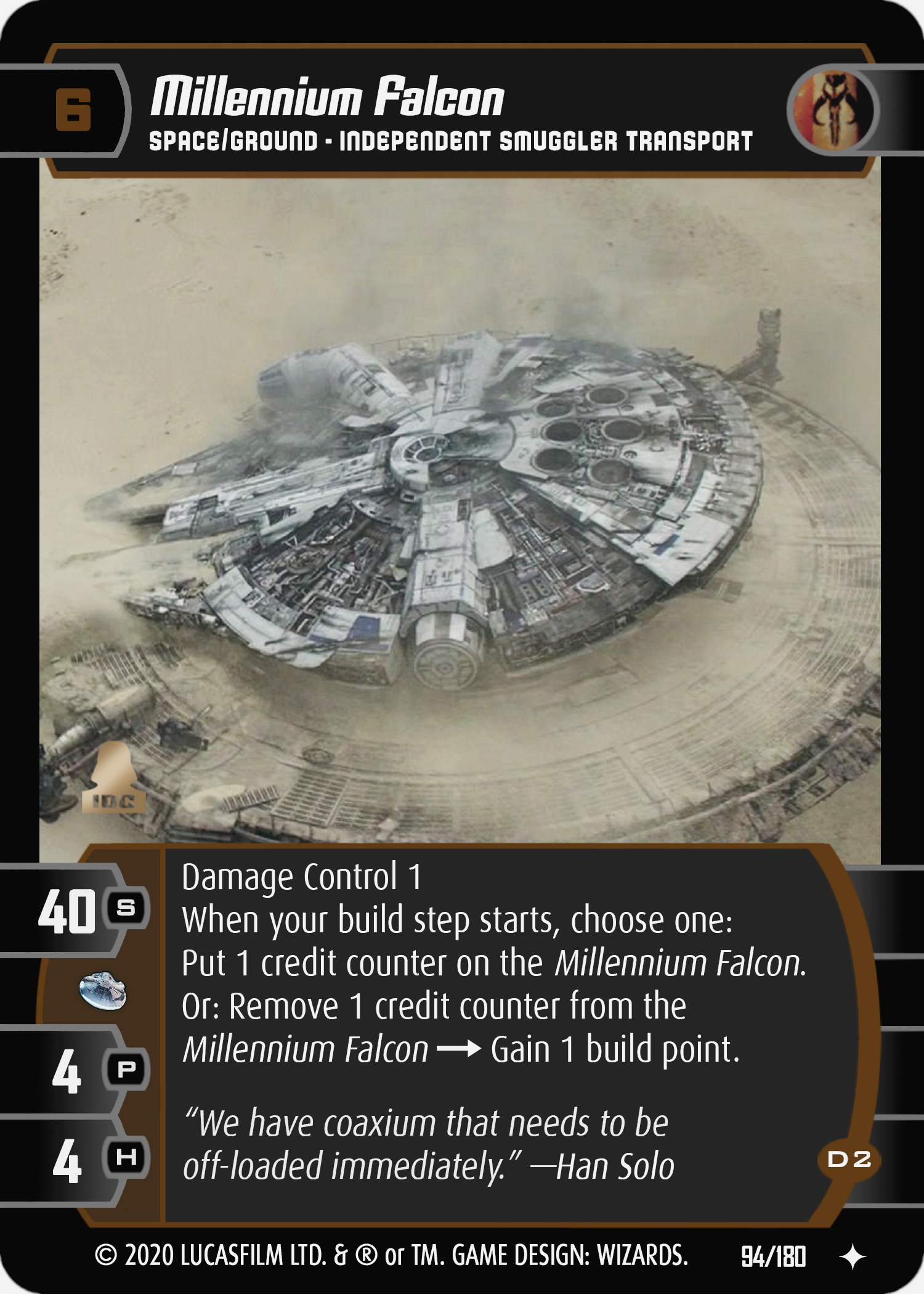 Star Wars Trading Card Game SOLO094_Millennium_Falcon_D2